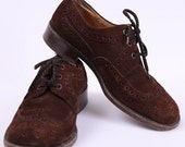 Suede Brogues / Mens Shoes / Brown Oxfords / 70s / mens 8.5 , womens 10 / EUR 41.5 - 42