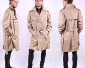 60s Mens Coat / Vintage Beige Detective Trench Coat/ Large