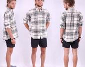 Plaid Flannel Shirt Mens / White Black Lumberjack Shirt / M