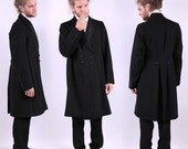 Antique 1900s Prince Albert Frock Coat / Double Breasted  / Black / sz M to L