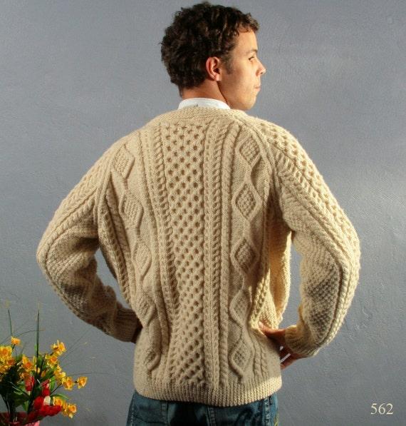 Vintage 70s  IRISH HANDKNIT  lamb wool IVORY  CARDIGAN, size Medium/ Large