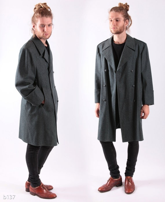Mens ARMY Coat . Mens Swiss Military Longcoat Vintage Wool