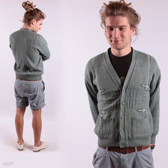 Reserved. 1980s Rustic Green Mens Cardigan / Nerdy Pockets Sweater / M