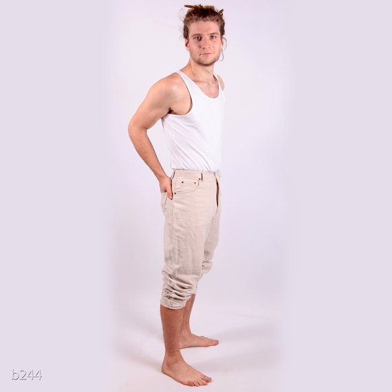 Vintage Linen Summer Pants for Men / High Waisted / Natural Color / Small