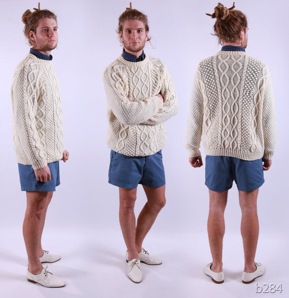Vintage Sweater / White Fisherman / Cable Knit / M to L