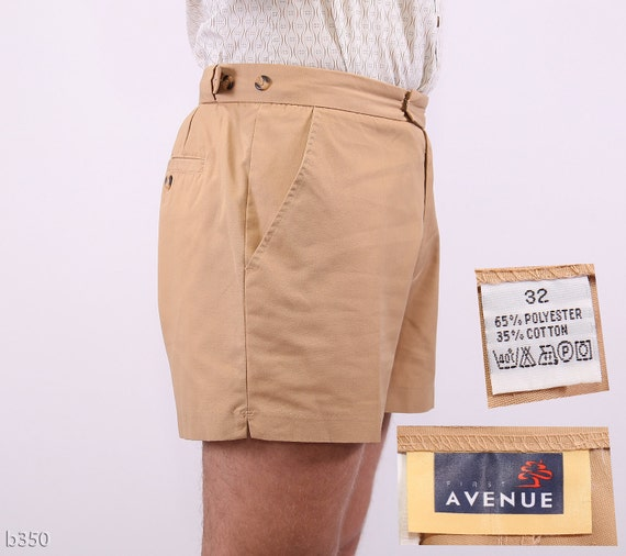 Vintage Mens Shorts Beige / Camel Safari Shorts / Small