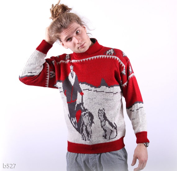 80s Husky Print  Mens Sweater / Red Novelty Knit / Small to Medium