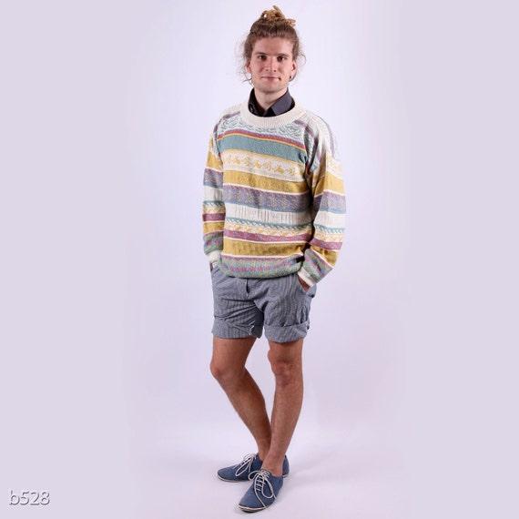 80s Mens Southwestern Sweater / Tribal Jumper for Men / L