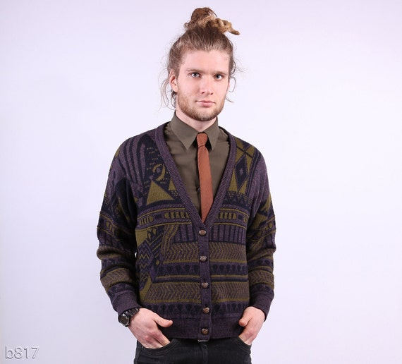 Tribal Cardigan / Mens Purple Apache Print Wool Cardigan / M