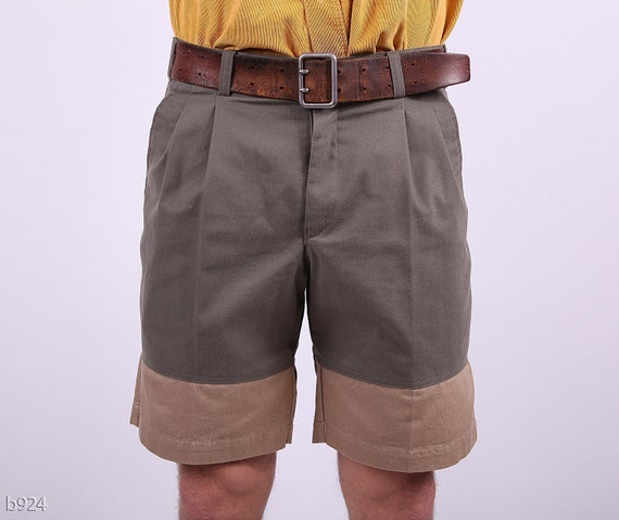 Vintage Mens Summer Shorts  /Khaki and Beige Two Toned Reconstructed/ Medium