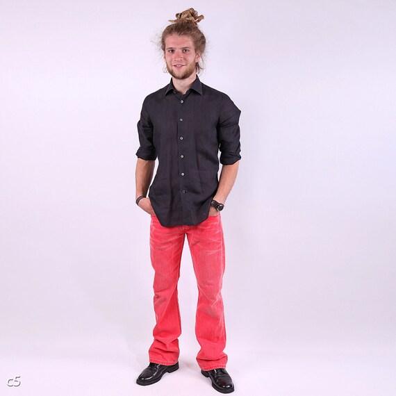 Finamore Napoli Hand Made Linen Shirt / Mens Black Linen Shirt / 15 1/2, 39