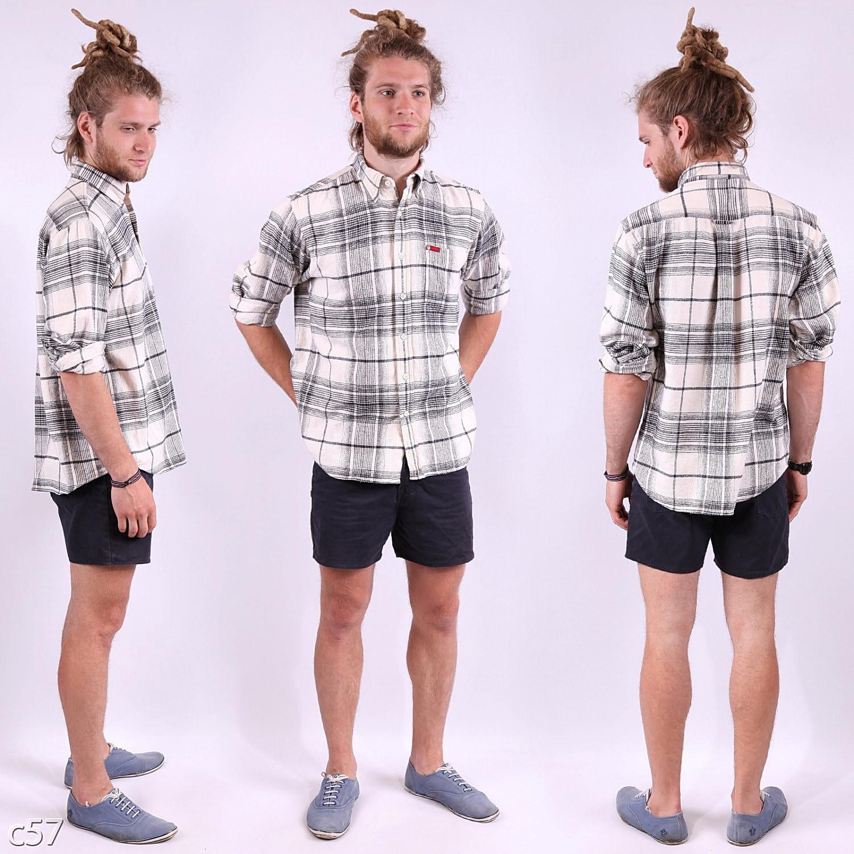 Plaid Flannel Shirt Mens / White Black Lumberjack by BetaMenswear