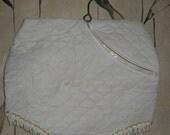 Vintage white Vinyl and fringe Quilted Lingerie pantie  Bag Nylon Stocking Bag on hanger