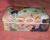 Antique hand painted porcelain divided jewelry trinket  dresser   box