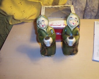 Vintage MONK Friar tuck   Candle Holders pair  JAPAN Star creations never used