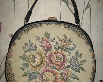 Vintage Verdi Large Round  Tapestry Handbag Purse