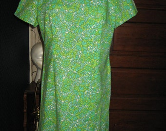 1960s retro  mod    all  cotton  Floral Dress Vintage designer   Bill Sims buttons front   Shift Dress sz 14