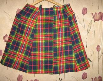 60s  mod plaid a line  acrylic  mini skirt