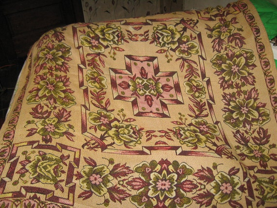 Antique LARGE EUROPEAN   Handwoven Bed Cover Spread Tapestry Blanket Coverlet  112 X  53
