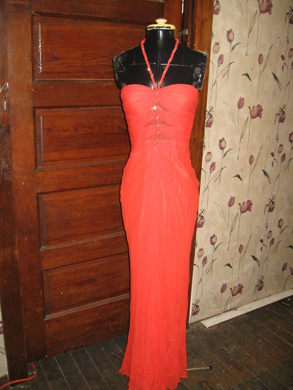 Vintage 1980's Grecian Goddess Rouched Silk Chiffon Cocktail Dress sz 2