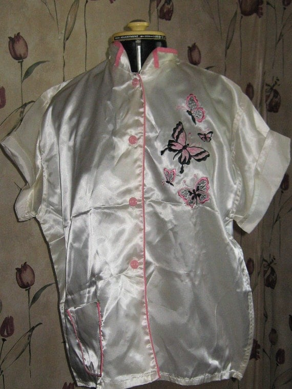 1950 Miss Hollywood Original satin embroidered  bed jacket  sz 40 New condition
