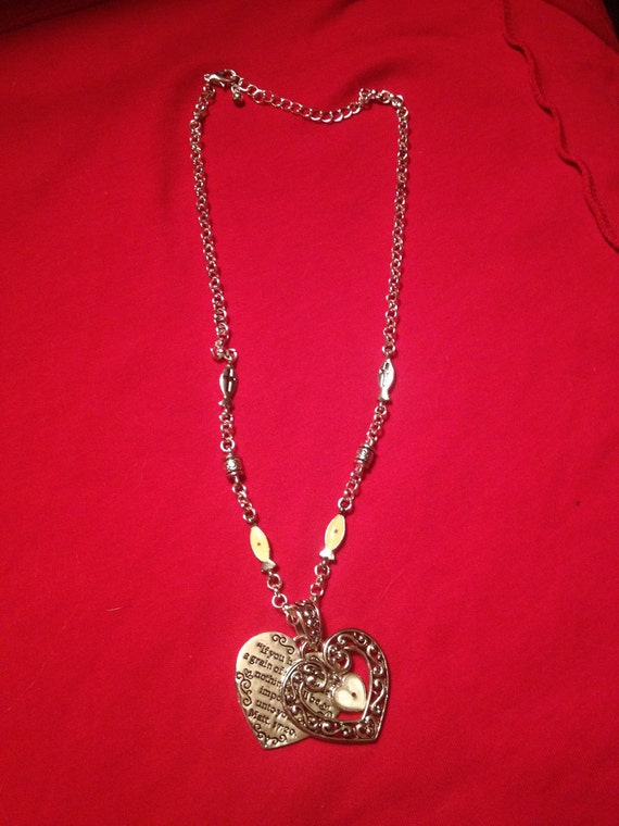 Vintage    mustard seeds  double hearts  crosses  necklace