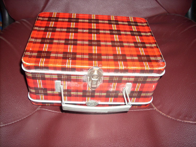 Vintage Lunch Box Ohio Art Red Tartan Plaid 1950s