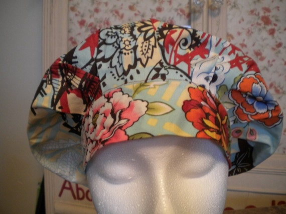 Lotus Blossom and Japanese Maple Bouffant Style Scrub Hat