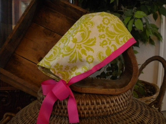 Womens OR Scrub Hat -  Lime Green with Pink Ribbon