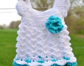 Baby Dress Girl Newborn Outfit Headband White Teal Take Home First Outfit Shower gift Baptism Christening Photo Prop Wedding Flower Girl
