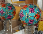 "Japanese-style temari ball turquoise blue w crosses &  triangles 8"" curcumference"