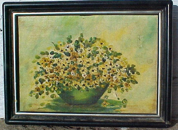 Vintage 1950s Floral Still Life Oil Painting Daisys