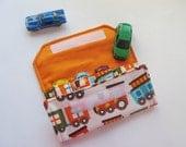 The ORIGINAL Car Wallet with Pocket (holds 4) ... Trains (orange)