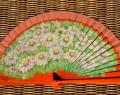 Sunset Daisies - orange hand painted wooden fan (BIG size)