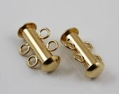 Gold plated 2-strand slide lock clasps (4)