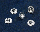 Silver plated 6mm button backs (100)