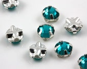 4mm Blue zircon sew-on crystal beads (10)