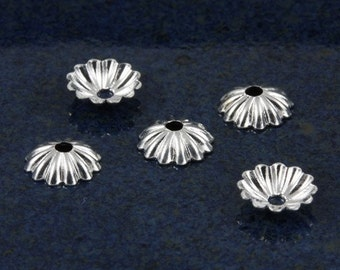 Silver plated Corrugated Flower bead caps for 6-8mm beads (100)