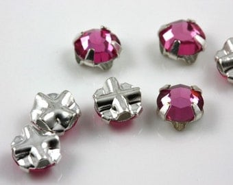 4mm Dark Rose sew-on crystal beads (10)