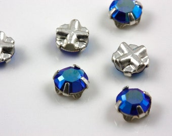 4mm Sapphire AB sew-on crystal beads (10)