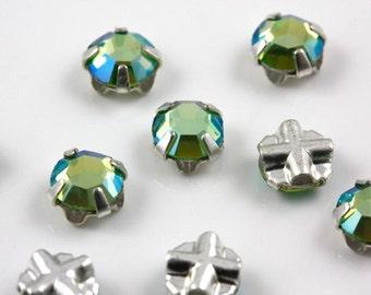 4mm Peridot AB sew-on crystal beads (10)