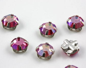 4mm Light Rose AB sew-on crystal beads (10)