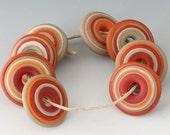 Southwest Disc Set - (8) Handmade Lampwork Beads - Khaki, Tile, Sandstone, Brown