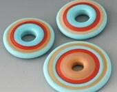 Santa Fe Discs - (3) Handmade Lampwork Beads - Brick, Turquoise, Mustard - Etched, Matte