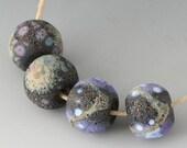 Rustic Sedona Pairs - (4) Handmade Lampwork Beads - Black, Purple, White - Etched, Matte, Tumbled