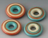 Southwest Discs - (4) Handmade Lampwork Beads - Turquoise, Terracotta