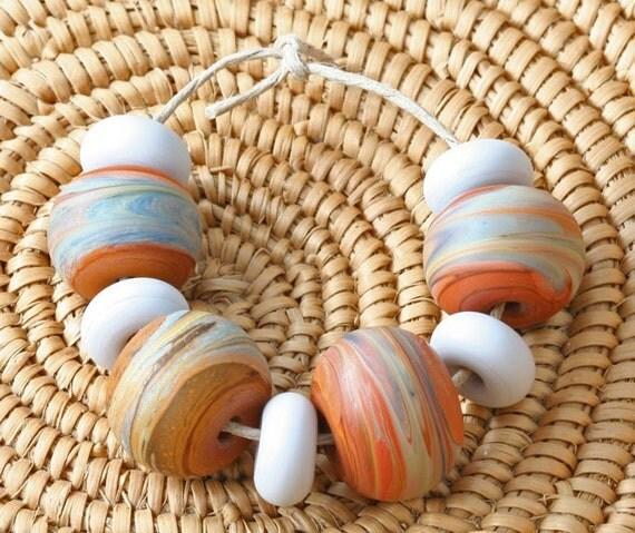 Lichen Swirled - Mini-Set - (9) Handmade Lampwork Beads - Etched
