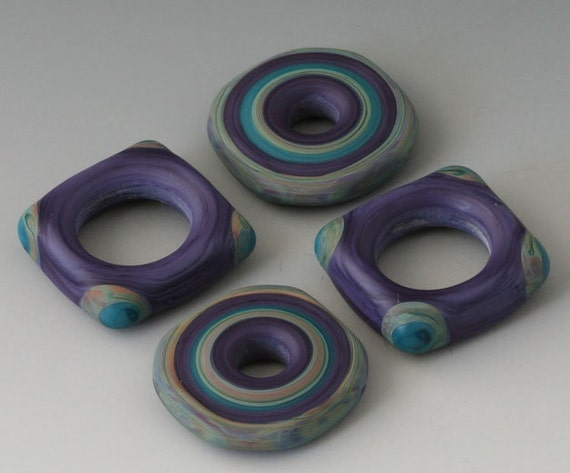 Southwest Squared Discs - (4) Handmade Lampwork Beads - Teal, Lapis  - Etched, Matte