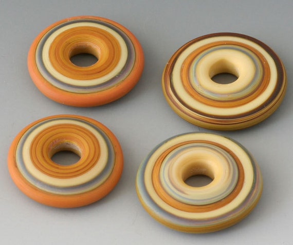 Southwest Discs - (4) Handmade Lampwork Beads - Brown, Yellow - Etched, Matte