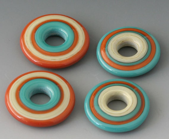 Southwest Discs - (4) Handmade Lampwork Beads - Turquoise, Terracotta